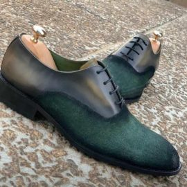 Olive Green Suede Lace-up Formal