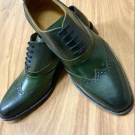 Olive Green Leather Formal