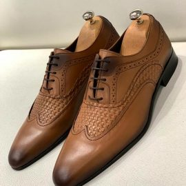 Two-toned Handmade Pattern Brown Oxford