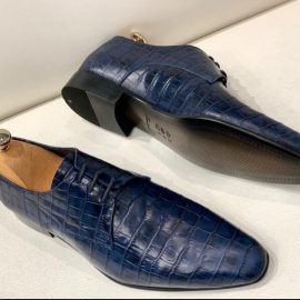 Crocodile Handcrafted Navy Formal Lace-up