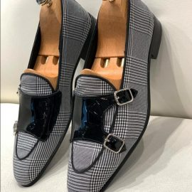 Black and White Wool/Genuine Leather Monk Loafers