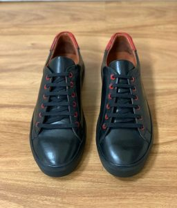 Black & Red Leather Sneakers