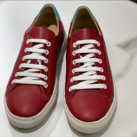 Red Hand-Painted Leather Sneakers
