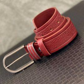Patterned Leather Red Belt