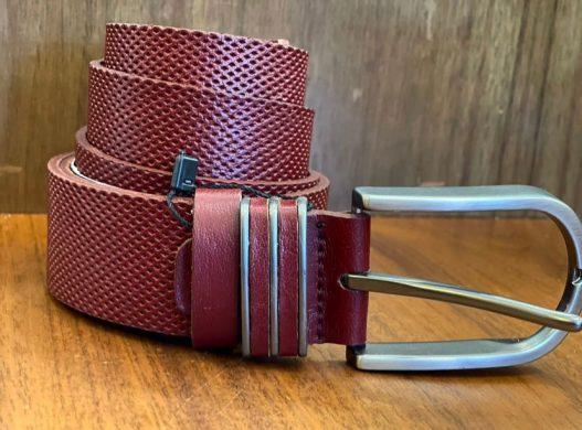 Maroon Dots-Holes Pattern Designer Belt