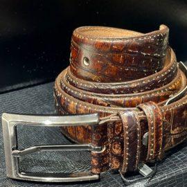Vintage-colour Faded Leather Belt