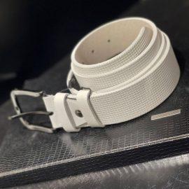 Square Pattern Design White Belt